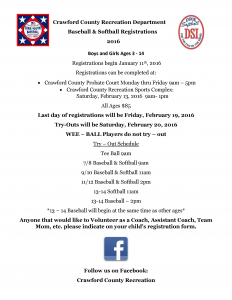 Baseball-Softball Registration Flyer 2016